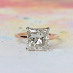 4.00 CT Moissanite Ring / Near Colorless Princess Cut Solitaire Ring / Rose Gold Engagement Rings For Women / Best Gift For Wife  #PrincessMoissanite #MoissaniteRing #GBJ #RoseGoldRing #DiamondGoldRing  #ProposalRing  #SimpleRing #SimpleEngagement #SolitaireRing #PrincessMoissaniteSolitaireRing #MoissaniteSolitaireRing #UniqueSolitaireRing #ColorlessMoissaniteRing #ColorlessMoissaite #AnniversaryRing #PrincessCutMoissanite #PrincessCutMoissaniteRing #WeddingRing #EngagementRing #DiamondRing Wedding Rings Solitaire, Rose Gold Engagement Ring, Vintage Engagement Rings, Best Gift For Wife, Gifts For Wife, Ring Rosegold, Solid Gold Jewelry, Moissanite Rings, Princess Cut