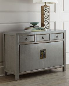 Love the look of this in gray washed lacquer for storage piece along left wall. Great size as well per plan.