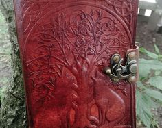 Leather Journal // Twin Dragons Leather Journal // by EldariaRose