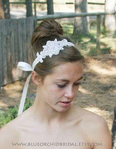 Crystal Headband Rhinestone Headband Bridal Headband Wedding Headband Vintage Inspired. $30.00, via Etsy.
