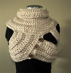 FUNKY COWL VEST, tribal, steampunk, chunky crochet, knitted, GnarlyKnits