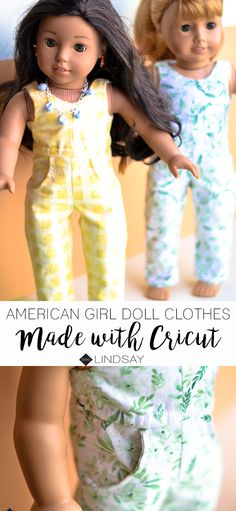 Create this diy American Girl doll jumpsuit using Natalie Malan's Crisp Petals fabric by Coats. Use your Cricut Maker to create these easy doll clothes and make them timeless. Girl Doll Clothes, Doll Clothes Patterns, Doll Patterns, Clothing Patterns, Girl Dolls, Barbie Clothes, Easy Sewing Projects, Sewing Projects For Beginners, Sewing Hacks