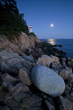 """Lighthouses: """"Moonlight reflected in the ocean near the Bass Harbor light house.""""  by National Geographic"""