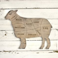 Lamb Sign Butcher Shop Meat Chart Butcher Diagram Rustic Home Decor Kitchen Wall Decor by SlippinSouthern on Etsy