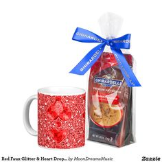 Red Faux Glitter & Heart Droplets Classic White Coffee Mug