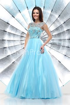 Classical Scoop Neckline Prom Dress Beaded Bodice Floor Length Tulle