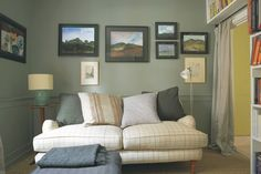 Farrow & Ball inspiration: F & B Living w/ Colour: Katyelliott - Tuesday, February // From Style & Design for a Family Home: Chic design ideas, pictures, remodel & decor website. Farrow Ball, Farrow And Ball Paint, Olive Living Rooms, Living Spaces, Farrow And Ball Living Room, Green Paint Colors, Green Rooms, Green Walls, Decoration