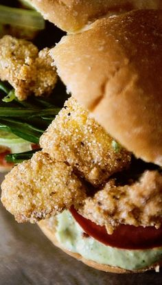 Fried Catfish Po'boys with Spicy Remoulade Sauce.