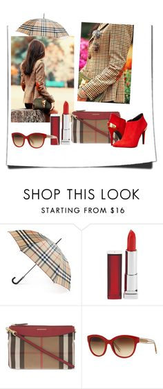 """""""Burberry"""" by amanihanbali ❤ liked on Polyvore featuring Dolce Vita, Burberry, Maybelline and Love Moschino"""