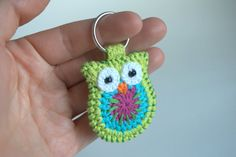 Crochet owl keychain green