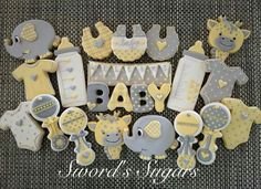 Sword's Sugars :   Baby shower decorated cookies (Baby Shower Sugar Cookies)