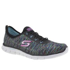 Skechers Black And Blue Glider Deep Space Womens Skechers send another colourfully fun style our way, in the form of the Glider Deep Space. The multi-coloured fabric upper forms a sock-like construction for a secure fit, with bungee lacing for slip- http://www.MightGet.com/january-2017-13/skechers-black-and-blue-glider-deep-space-womens.asp