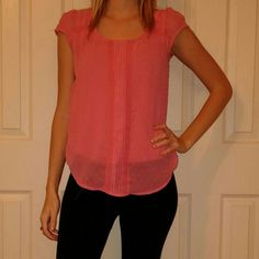 Xs LC Pink Top Worn and washed once. Pink top with dots and and lace detailing down the front. Back is a t-shirt material. Great with a sweater or blazer. LC Lauren Conrad Tops