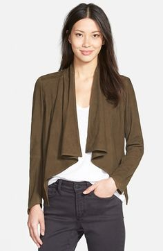 LaMarque Drape Front Suede Jacket | Nordstrom I own the white smooth leather version of this, and it looks amazing with the collar draped diagonally. Always get compliments. Digging the suede moment.