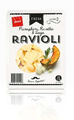 simple monochrome own brand ravioli packaging with overhead ingredient photography