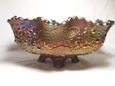 Vintage Fenton Glass Orange Tree Carnival Glass Large Fruit Bowl Blue 4 Toes #Fenton