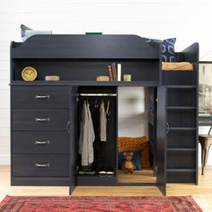 Shop for South Shore Asten Loft Bed with Desk Size - Twin. Get free delivery On EVERYTHING* Overstock - Your Online Furniture Outlet Store! Queen Loft Beds, Low Loft Beds, Loft Beds For Teens, Trundle Bed With Storage, Loft Bed Storage, Storage Spaces, Loft Bed Frame, Loft Bed Desk, Bunk Bed With Desk