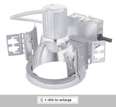 "Recessed Downlight 8"" Commercial frame   Galvanized steel construction   Polycarbonate white trim ring 120V.   Lamp and hanger bars not included   200W max lamp rating-PAR30, PAR38 or A19   Frame dimensions: 12""L x 12 1/2""W x 10 1/2""H"