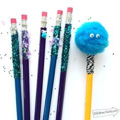 Decorate your pencils for school using glitter, googly eyes, pom poms, and glue! So fun and so easy!
