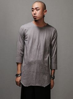 Lunar Dusty Washed Crop Sleeve Multi Seamed Tee $34.20  #men #fashion #style #street #tee #shirt #shorts #washed #crop #sleeve #gray #charcoal