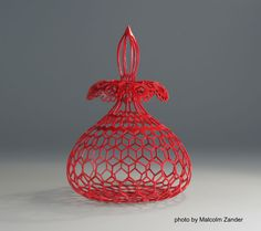 "Malcolm Zander  ~  Essence of Lace  Pink ivory, quinacridone red, nitrocellulose lacquer   5.75"" x 4.25"""