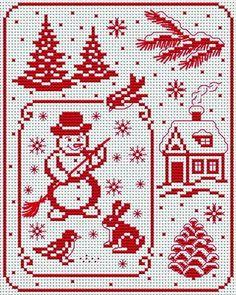 Free snowy christmas tree in cross stitch   Korsstygns-Arkivet ♥