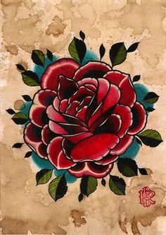 #traditional #rose #tattoo #flash