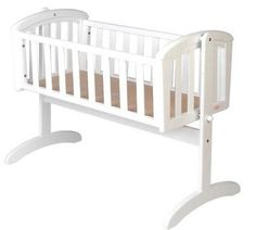New Nursery Baby Cradle Bassinet Wooden White + Mattress Baby Cot