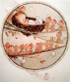 Baby watched over by Fairies ~ Illustration by Mabel Lucie Attwell English Illustrator & Author of Children's Books, Greetings Cards & Postcards . Art Vintage, Vintage Fairies, Vintage Cards, Vintage Children's Books, Vintage Postcards, Art Mignon, Elves And Fairies, Art Et Illustration, Book Illustrations