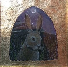 Hare, pencil and 24ct gilding. Hannah Willow www.hannahwillow.com www.facebook.com/Hannah.willow.artist #hare #art #illustration #folklore #hannahwillow