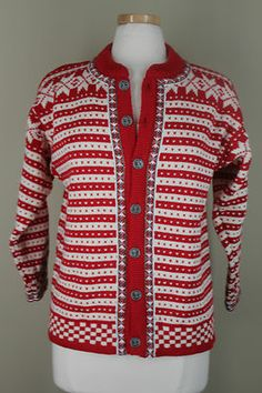 Dale of Norway 12 Norweigian Wool Cardigan Sweater Red Ivory Metal Buttons | eBay