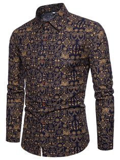 Lapel Floral Print Long Sleeve Slim Fit Men's Shirt