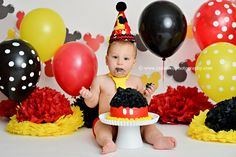 mickey mouse cake smash photoshoot - Google Search