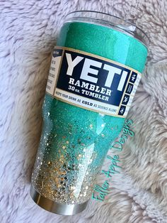 Mint- Teal- Turquoise Glitter to Silver Light Gold Chunky Glitter Ombré YETI- Tumbler- Stemless Wine Glitter Top, Green Glitter, Silver Glitter, Glitter Shoes, Coffee Tumbler, Tumbler Cups, Coffee Mugs, Teal Nails, Teal And Gold