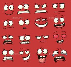 Cartoon Faces by memoangeles Funny cartoon faces. Vector clip art illustration with simple gradients. Each on a separate layer. and PSD files included. Funny Cartoon Faces, Drawing Cartoon Faces, Cartoon Expression, Cartoon Eyes, Funny Cartoons, Cartoon Crazy, Cartoon Clip, Angry Cartoon Face, Cartoon Faces Expressions