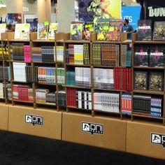 Amazing Chairigami shelves stuffed to the brim with Oni Press goodness