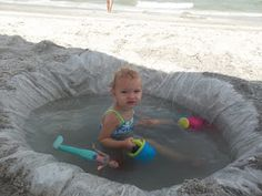 Make a temporary 'pool' area for your child at the beach using just a shower curtain liner ($6 or under, depending on where you buy it). I've found them at dollar stores for much less. inlieuofpreschool.blogspot.com