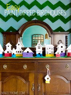 Easy paint dipped birdhouse craft from makelyhome.com