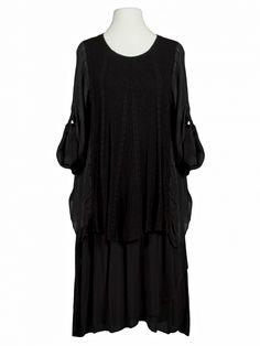 Damen Kleid mit Seide A-Form, schwarz von Spaziodonna bei www.meinkleidchen.de