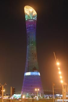 Aspire Tower, a 318 meter high is the design landmark of the Asian Games 2006 in Doha, Qatar. Throughout the facade LEDs have been installed within the mesh to create user-defined effects in varying colours.