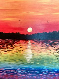 Paint Nite - Sunset On Rainbow Lake beginner painting idea with impressionist influence.