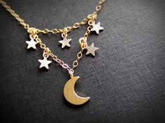 Moon and the Stars Jewelry Necklace - Silver Stars - Constellations - Gold Filled Jewelry Moon Jewelry, Star Jewelry, Brass Jewelry, Beaded Jewelry, Jewelry Box, Jewelry Necklaces, Unique Jewelry, Star And Moon Necklace, Cute Necklace