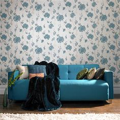 I love the classic blue and white combination. Laurence Llewelyn-Bowen Love Letter Wallpaper, Teal by Graham & Brown - available at ACHICA now
