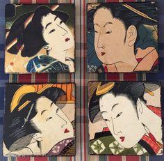 Coasters decoupage with Asian Geisha's fabric.