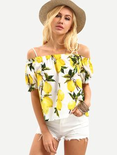 SheIn Cold Shoulder Lemon Print Top Women Tops and Blouses 2016 New Fashion Summer Yellow Puff Sleeve Beach Blouse Floral Tops, Off Shoulder Shirt, Cold Shoulder, Lemon Print, Sweatshirt Dress, Look Chic, Casual Tops, New Fashion, Fashion Styles
