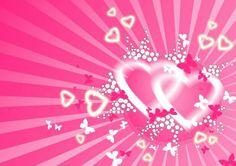Corazones en fonde rosa