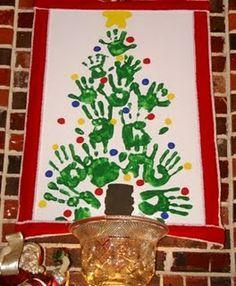Family handprint Christmas tree on canvas | best stuff