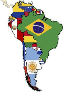 Flag map of South America plus flag maps from around the world