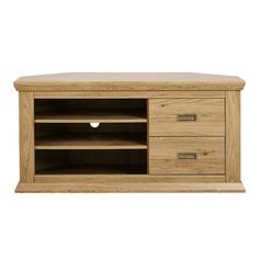 Crafted with an oak effect finish and storage drawers and shelves, this corner TV unit will add a modern rustic style to your home.