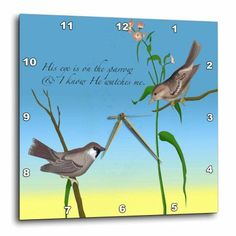 A group of sparrows wall clock wall clocks clocks and group 3drose his eye is on the sparrow gospel hymn illustrated with two sparrows wall thecheapjerseys Gallery